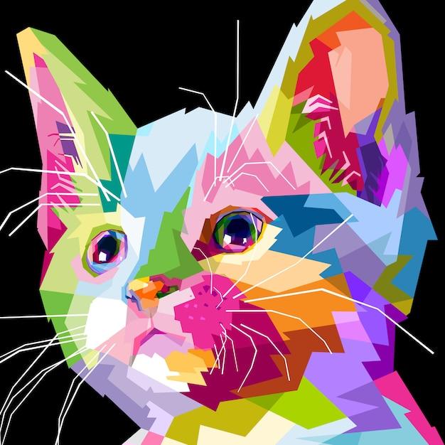 Primo piano del gatto faccia Vettore Premium