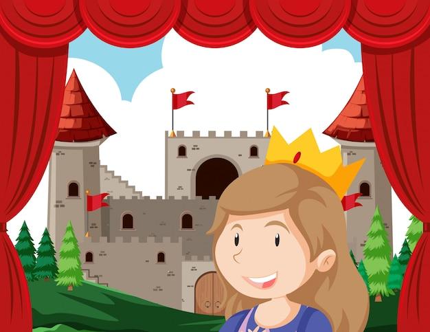 Principessa in primo piano del palcoscenico di fronte al castello Vettore gratuito