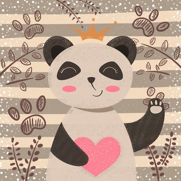 Principessa panda carino - personaggi dei cartoni animati Vettore Premium
