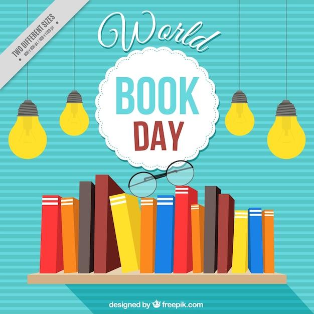 Priorità bassa a strisce con i libri su uno scaffale Vettore gratuito