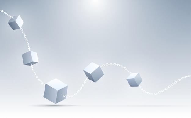 Priorità bassa astratta dei cubi 3d. cubi geometrici di connessione. scienza, blockchain e background tecnologico. sfondo astratto . Vettore Premium