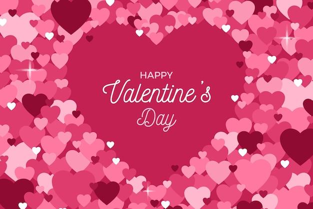 Priorità bassa astratta del biglietto di s. valentino dei petali del cuore Vettore gratuito