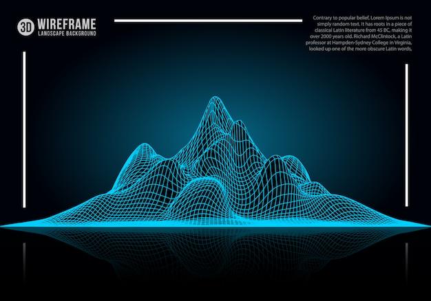 Priorità bassa astratta del paesaggio del wireframe. Vettore Premium