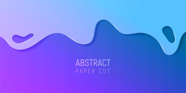 Priorità bassa astratta della melma del taglio del documento. banner con sfondo astratto melma con onde di taglio carta viola e blu. Vettore Premium