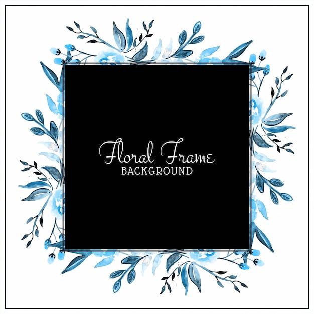Priorità bassa blu astratta del blocco per grafici del fiore dell'acquerello Vettore gratuito