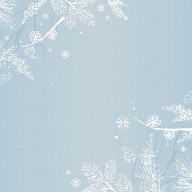Priorità bassa blu con il vettore della decorazione di inverno Vettore gratuito