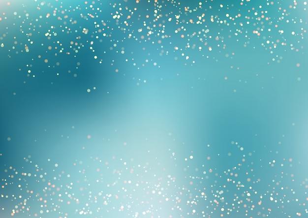 Priorità bassa blu di caduta del turchese di scintillio dorato astratto Vettore Premium