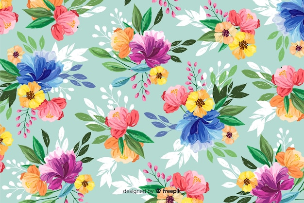 Priorità bassa decorativa dei fiori verniciati variopinti Vettore gratuito