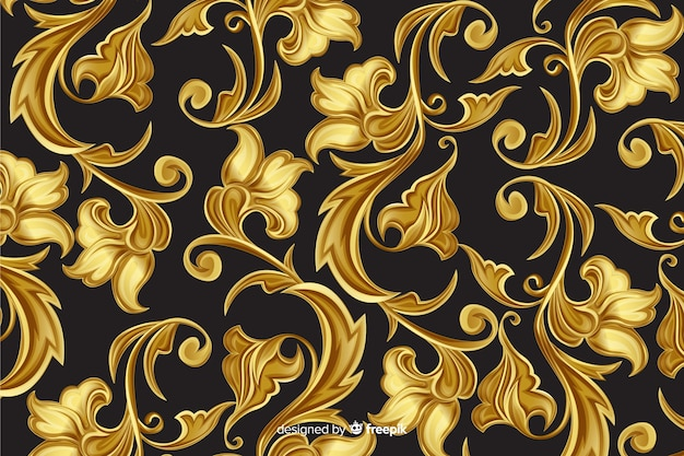 Priorità bassa decorativa floreale ornamentale dorata Vettore gratuito