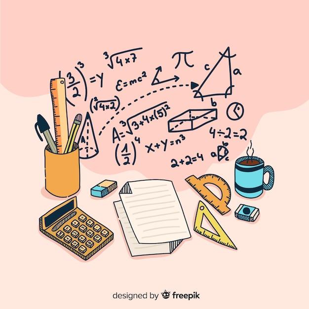 Priorità bassa degli elementi di matematica del fumetto Vettore gratuito