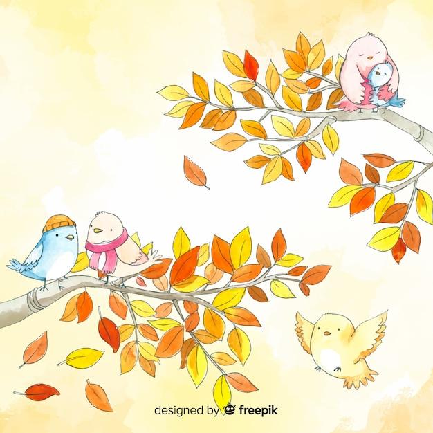 Priorità bassa degli uccelli e dei fogli di autunno dell'acquerello Vettore gratuito