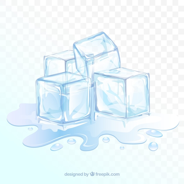 Priorità bassa del cubo di ghiaccio con stile realistico Vettore gratuito