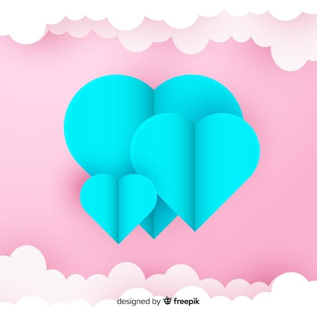 Priorità bassa del cuore di arte di carta Vettore gratuito
