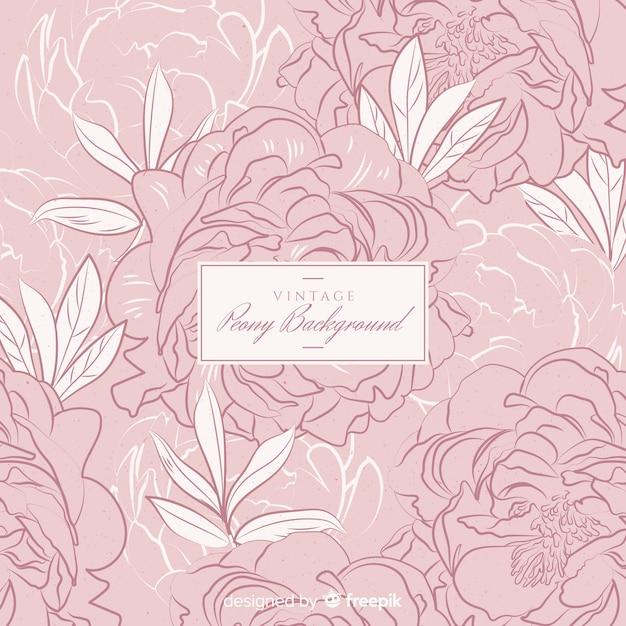 Priorità bassa del fiore di peonia in stile retrò Vettore gratuito