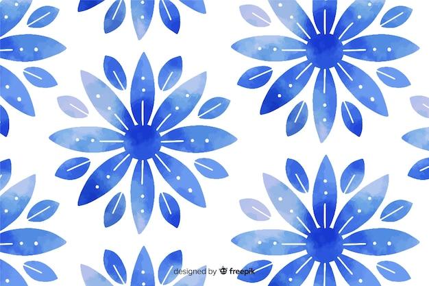 Priorità bassa del fiore ornamentale blu dell'acquerello Vettore gratuito