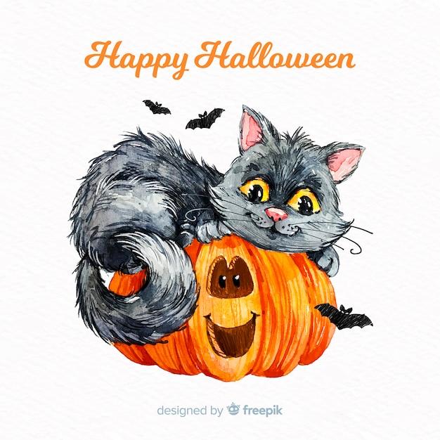 Priorità bassa del gatto sveglio di halloween in acquerello Vettore gratuito