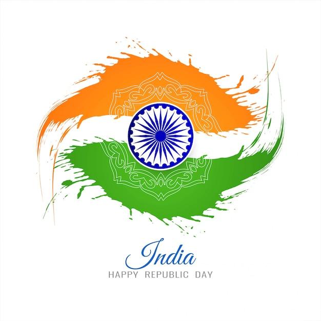 Priorità bassa del grunge di giorno della repubblica tema indiano bandiera Vettore gratuito