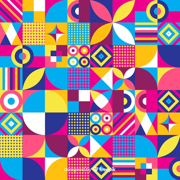 Priorità bassa del mosaico di forme geometriche colorate Vettore gratuito