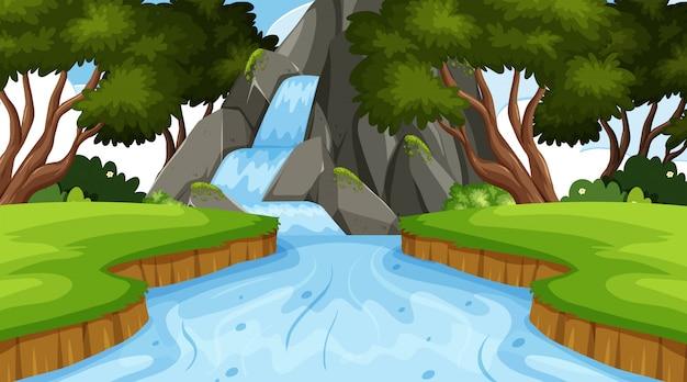 Priorità bassa del paesaggio con la cascata in foresta Vettore Premium