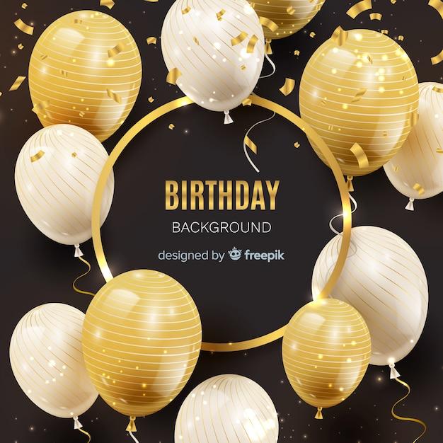 Priorità bassa del palloncino di compleanno realistico Vettore gratuito