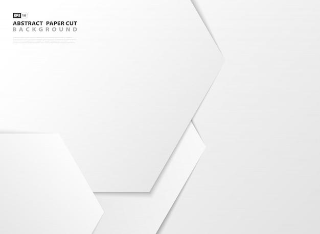 Priorità bassa del taglio della carta di disegno del reticolo esagonale bianco gradiente astratto. Vettore Premium