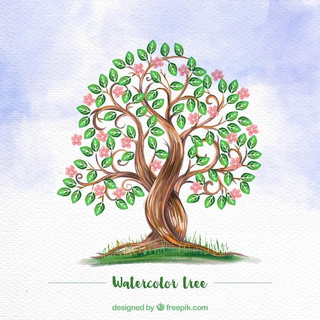 Priorità bassa dell'acquerello con albero fiorito Vettore gratuito