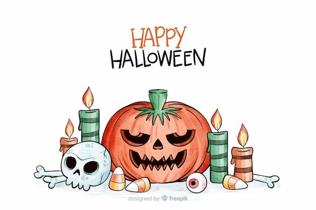 Priorità bassa dell'acquerello di halloween Vettore gratuito