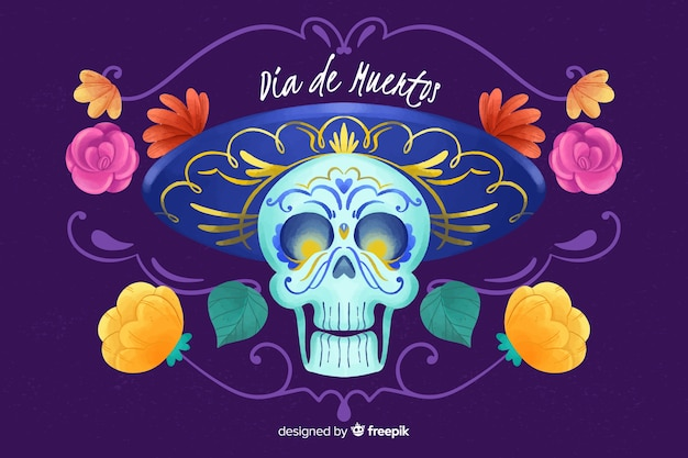 Priorità bassa dell'acquerello dia de muertos Vettore gratuito
