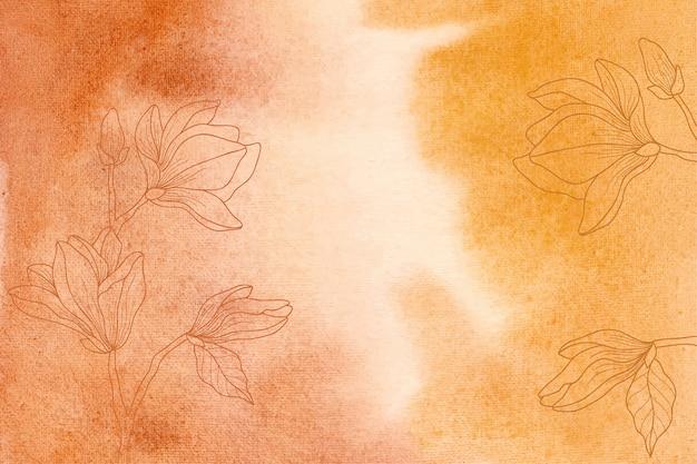 Priorità bassa dell'acquerello giallo e arancione con fiori disegnati a mano Vettore Premium