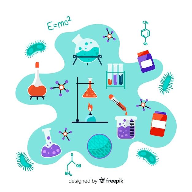 Priorità bassa dell'elemento di chimica disegnata a mano Vettore gratuito
