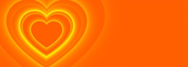Priorità bassa della bandiera di cuori arancioni Vettore gratuito