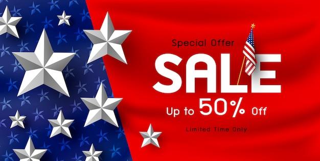 Priorità bassa della bandiera di vendita vacanza america Vettore Premium