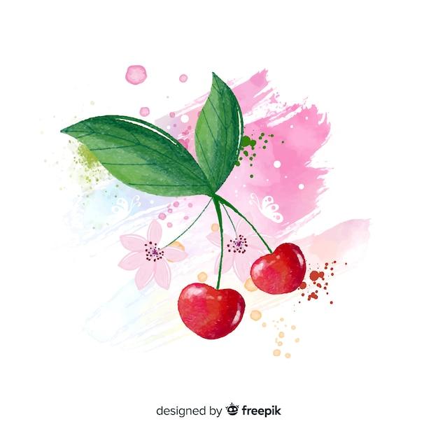 Priorità bassa della frutta dell'acquerello con ciliegie Vettore gratuito