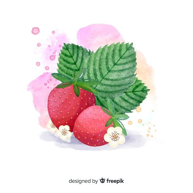 Priorità bassa della frutta dell'acquerello con le fragole Vettore gratuito