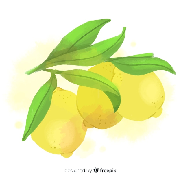 Priorità bassa della frutta dell'acquerello con limoni Vettore gratuito