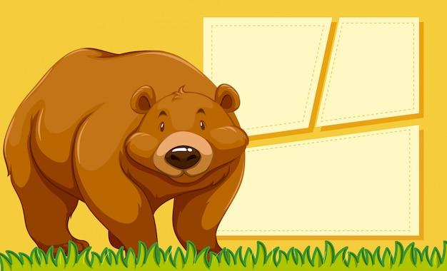 Priorità bassa della nota in bianco dell'orso bruno Vettore gratuito