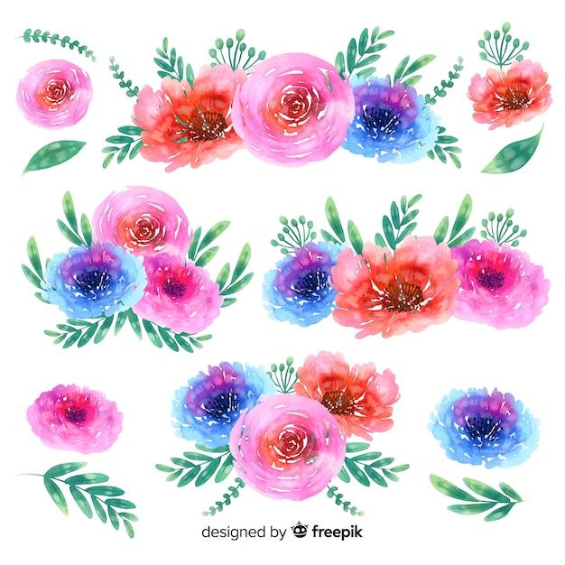 Priorità bassa della raccolta del mazzo floreale dell'acquerello Vettore gratuito
