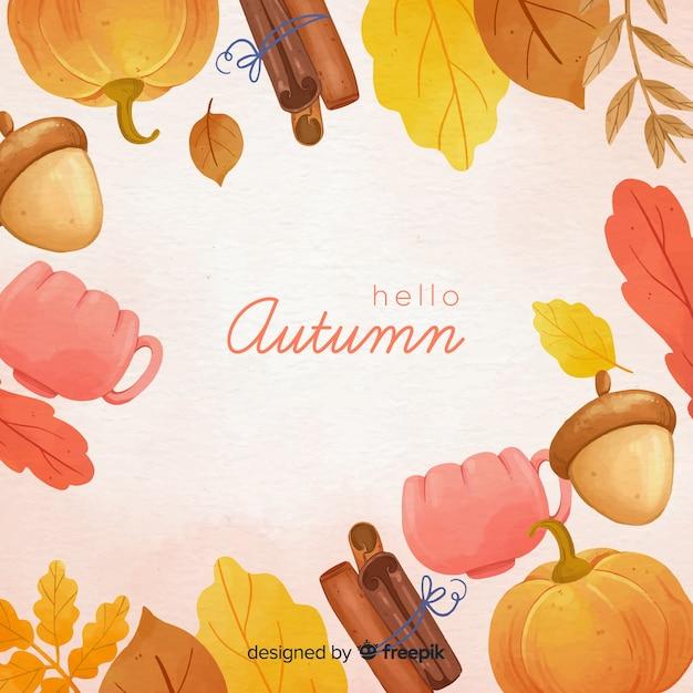 Priorità bassa di autunno dell'acquerello con foglie Vettore gratuito