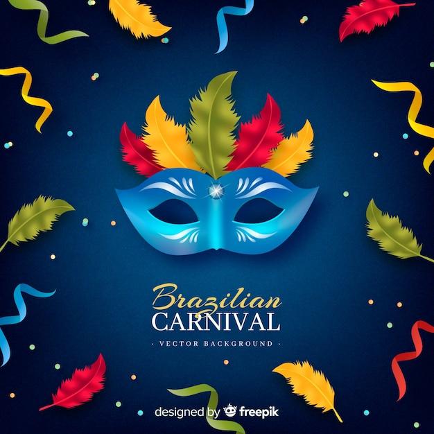 Priorità bassa di carnevale brasiliano maschera colorata Vettore gratuito