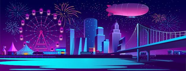 Priorità bassa di concetto con la città di notte Vettore gratuito