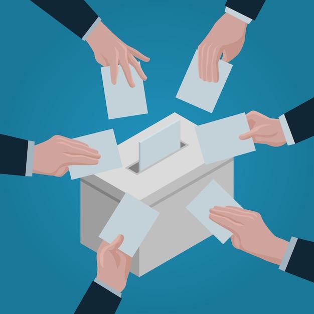 Priorità bassa di concetto di ballot. illustrazione isometrica del fondo di concetto di vettore di scheda elettorale per il web design Vettore Premium