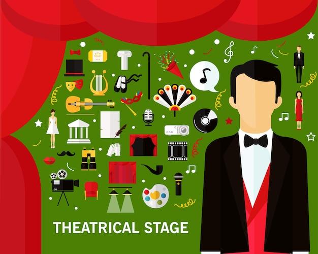 Priorità bassa di concetto di fase teatrale. icone piatte. Vettore Premium