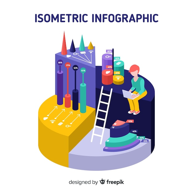 Priorità bassa di concetto di infografica isometrica Vettore gratuito