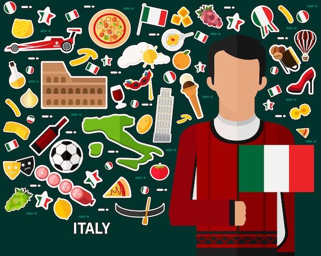 Priorità bassa di concetto di italia. icone piatte Vettore Premium
