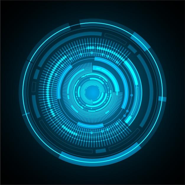 Priorità bassa di concetto di tecnologia cyber futuro dell'estratto della sfera dell'occhio azzurro Vettore Premium