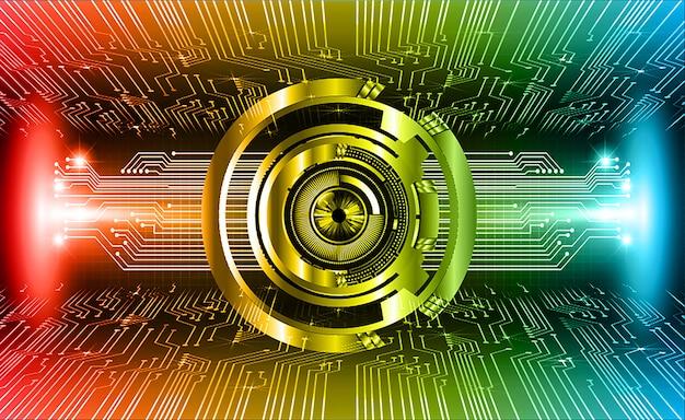 Priorità bassa di concetto di tecnologia futura circuito cyber rosso occhio blu Vettore Premium