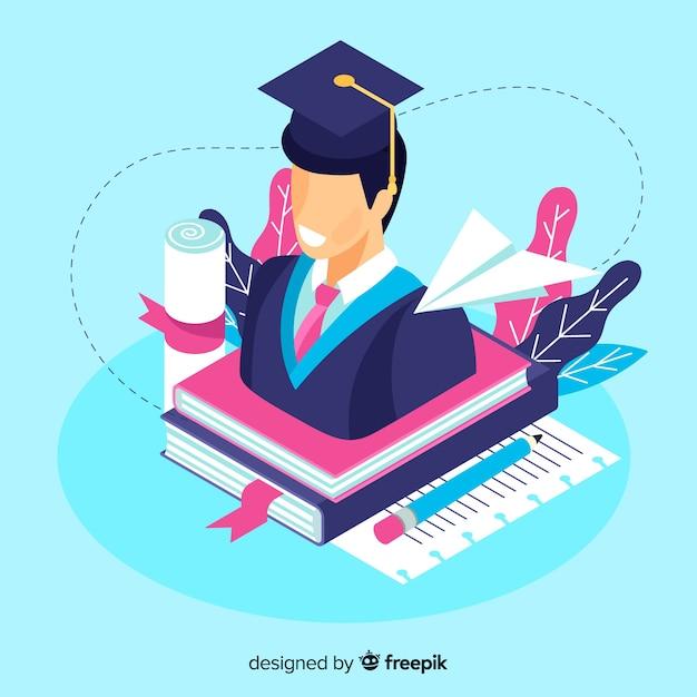 Priorità bassa di concetto di università isometrica Vettore gratuito