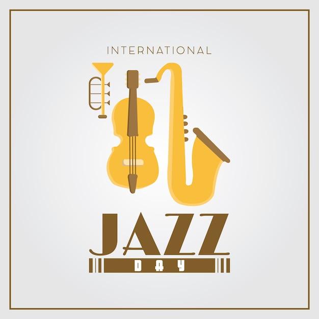 Priorità bassa di disegno del manifesto piatto semplice giorno internazionale di jazz Vettore gratuito