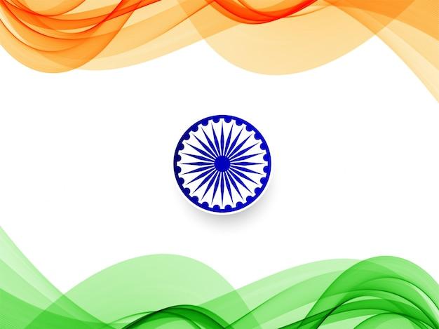 Priorità bassa di disegno di tema ondulato bandiera indiana Vettore Premium