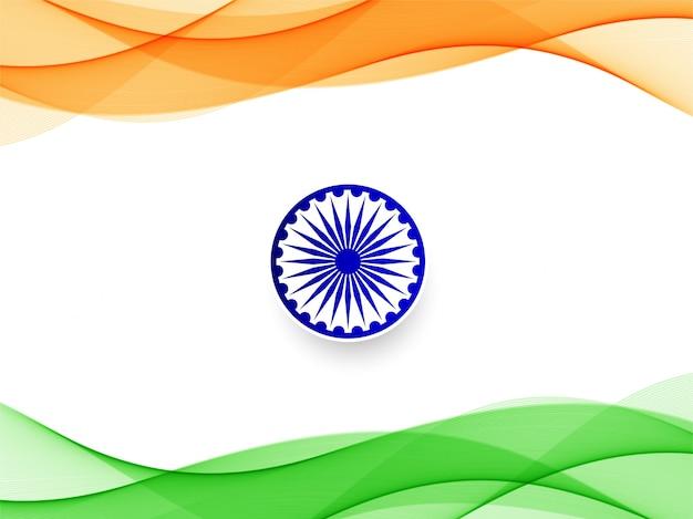 Priorità bassa di disegno ondulato bandiera indiana astratta Vettore Premium